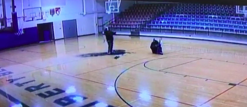 Caught On Security Camera: School Custodian Drains Incredible Half-Court Shot While Cleaning