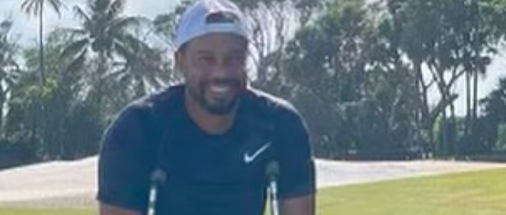 Tiger Woods All Smiles, Posting Photo In Crutches And Walking Boot With 'Faithful Rehab Partner' Dog