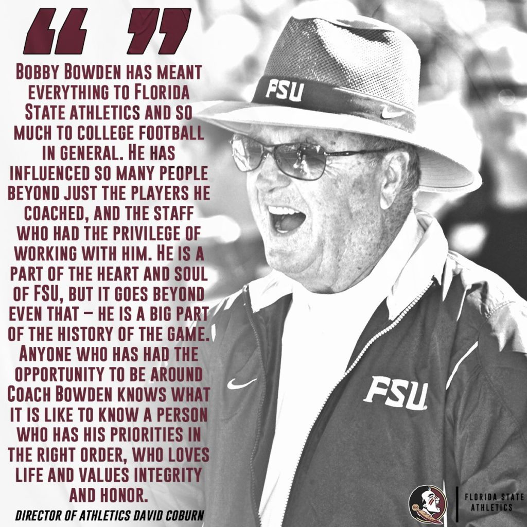 Florida State Football Coach Bobby Bowden, 91, Shares Tragic News – At 91 years old, Bobby Bowden is remembered as an essential asset to the success of the Florida State University football team for nearly 35 years.